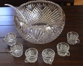 Vintage L.E. Smith Glass Co. Punch Bowl Set Pineapple Design w/30 Cups & Ladle