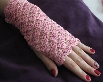 Pink crochet lace fingerless gloves