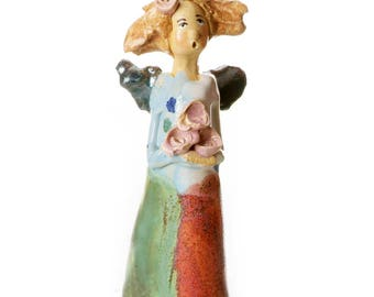Unusual and Quirky Ceramic Angel | Angel Holding Bunch of Pink Roses