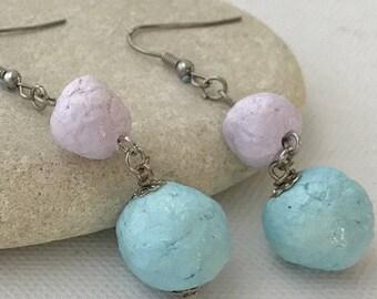 Paper earrings. Paper jewellery. Up cycled earrings. Paper beads. Pastel colour earrings. Paper pulp earrings. Lilac and sky blue earrings.