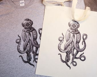 Octopus Diver T-shirt and Tote bag Combo