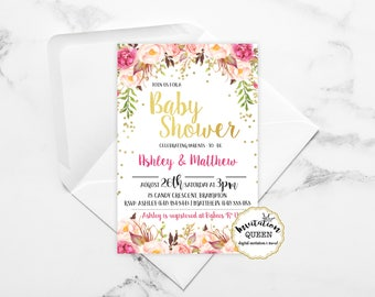 Baby Shower Invitation Girl Pink Floral Gold Sparkle Baby Shower Printable Invitation Girl Babyshower Invitation girl printed baby girl