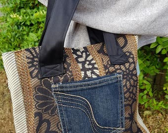Small tote bag, Upcycled, Eco-friendly, Stylish, Handmade, Sustainable fashion,