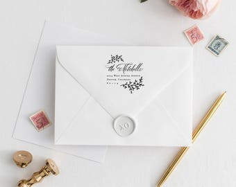 "Personalized Stamp Return Address Stamp Last Name, Address Stamp Rustic Rubber Stamp for Address, Return Address Stamp Leaves | 2"" x 2"""
