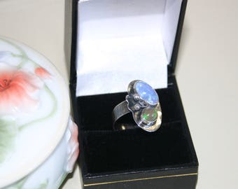 Sterling silver ring with Ethiopian opals