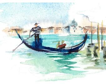Printable Watercolour Painting, Venezia, Digital Download, Postcard Art, Home Decor