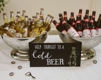 Beer chalkboard Sign for Party or Wedding with FREE easel