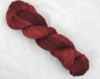 Hand Dyed Sock Yarn - 80/10/10 Superwash Merino Cashmere Nylon - 375 yds - Garnet