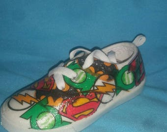Justice League one of a kind handmade custom shoes!This is a children's listing,but I can make in a matching adults size upon request :)