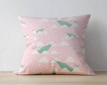 Narwhal Pillow, Nursery Cushion, Kids Pillow Cushion, Nautical Cushion, Home decor, Children Room Decor, Nursery Decor, Playroom decor