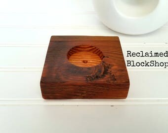 Reclaimed Wood Drink Coaster, Wood Tealight Candle Holder, Rustic Votive Candle Holder, Wood Ring Holder, Wood Coaster, Rustic Wine Coaster
