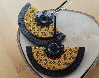 Sasha half circle fabric and leather earrings.