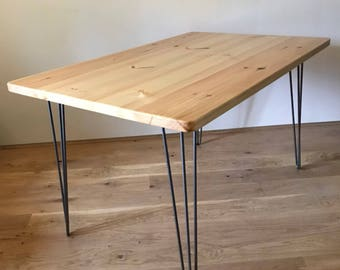 Bespoke, Rustic, Hairpin Kitchen/Dining Table. Beautifully Handmade, Mid Century, Modern Scandinavian Style. Can Custom Make!