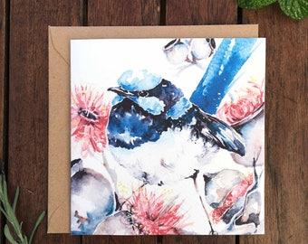 Little Blue Wren Watercolour Card
