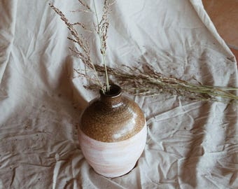 Vintage Clay Pink - Brown Decorative Vase