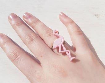 Flamingo ring. Pink flamingo ring. Flamingo jewellery. Pink flamingo jewellery pink flamingo ring. Alice in wonderland ring Alice jewellery.