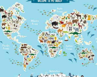 Welcome To My World, Animal Map of the World, Map for children and kids, Art Print, Gift