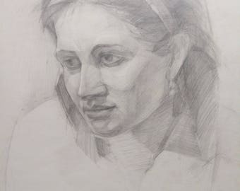 Woman Portrait, Woman Drawing, Vintage Woman Face, Woman Custom Portrait,Beautiful Woman, Pencil on Paper, Gift for her Gif, Christmas gift