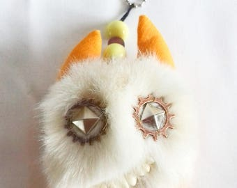 Gift charm for-girl, faux fur monster, accessory for-girls, gift for-her, key chain for-her