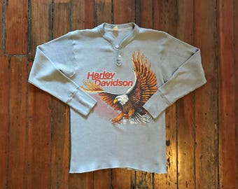 1970s X-Small Harley-Davidson Print Henley on Fruit of The Loom
