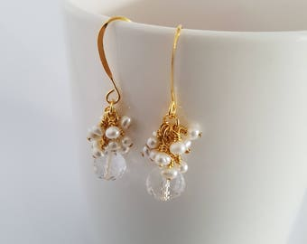 Crystal quartz briolette,tiny fresh water pearls, dangle earrings, wire wrapped, 22 ct gold plated earrings.