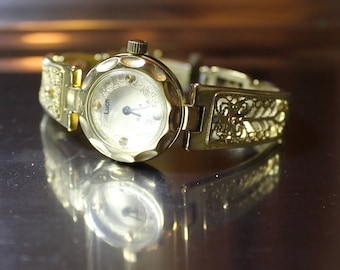 Vintage USSR Filigree Bracelet womens Watch Luch 1990's.Women's gold-plated mechanical watches,tiny watches Ray,Luch watch,round white dial