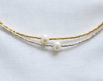 Necklace Choker, Freshwater Pearl & 925 sterling silver plated MIYUKI beads and plated 24 K Gold