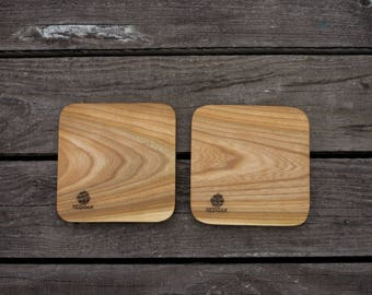 Solid wood coaster 115mm (set of 2)