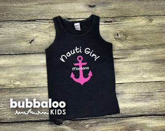 "Toddler ""Nauti Girl"" Tank Top (Personalization Included)"
