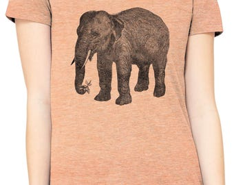Austin Ink Apparel Wise Elephant and Flower Fitted Ladies Soft Triblend Short-Sleeve T-Shirt