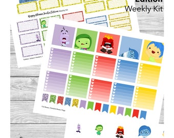 Happy Planner Teacher Edition Sticker Kit - Cute Emotion Feelings Outside Movie - with Cut File! - for Teacher Planner, Lesson Planner, etc
