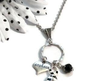 Zebra Black and White Awareness Charm Necklace - Rare Disease Cancer Ribbon