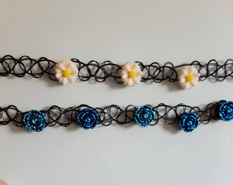 Choker: White and Blue Flowers