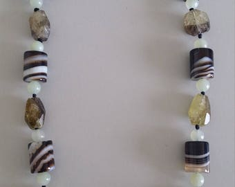 Agate with Quartz and Jade Necklace