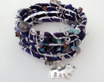 Sari silk bracelet - majestic purple - love elephants -  wire wrapped gemstone and crystals wrap braceley - spiritual crystal energy