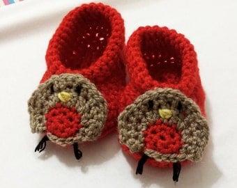 Christmas Robin Booties   Crochet Baby Booties   Handmade   Baby Christmas Gift   Christmas Baby Outfit