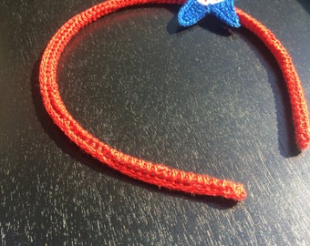 Red White and Blue Star Headband - Crochet