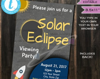 Solar Eclipse Invitation FLYER - Total Solar Eclipse 2017- Sun Moon Solar Eclipse Viewing Party - Personalize INSTANT Self-Editable 8.5x11