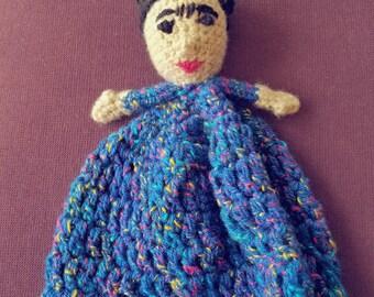 Frida Kahlo lovey/ Feminist nursery/ Baby shower gift/ Baby's first doll/ Security blanket/ Blanket toy