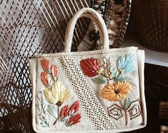 Vintage Caribbean Straw Hand Bag // Floral Straw Bag // Vintage Straw Bag