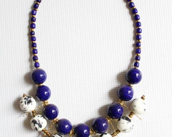 Beaded necklace, African necklace, Kenyan necklace, Statement Layered Blue White necklace