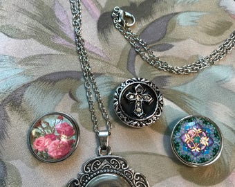 Snap Pendant Necklace set with 3 snap buttons (20mm), cross, roses, circular design. FREE SHIPPING!