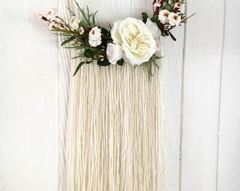 40% OFF SALE - Modern romantic winter floral wall hanging - embroidery hoop wreath - fiber art - boho bridal - boho nursery