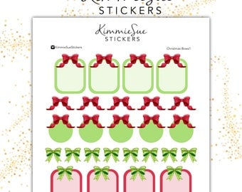 Printable Planner Stickers | Functional Kit | Christmas Bows | TN Stickers | Erin Condren Planner | PDF Trace Files | Stickers Printable