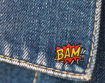 BUY 1, GET 1 Random Pin Free! Comic Book Bam! Enamel Pin Bam Lapel Pin Badge Comic Pin Soft Enamel Pin Pop Culture Pin