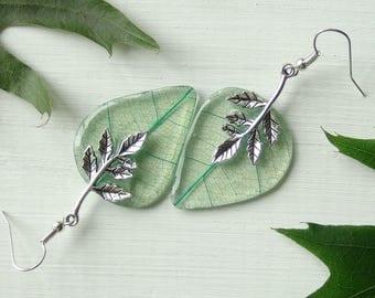Shape of the leaf earrings,skeleton leaf,blue leaf earrings,silver blue leaf,jewelry resin earrings,autumn earrings,fall decoration,skeleton