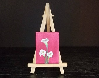 Calla Lilies mini oil painting with easel