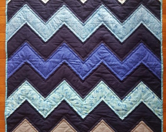 Blue Zig-Zag Baby Quilt