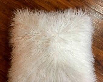 White Mongolian Lamb faux fur Sheepskin pillow