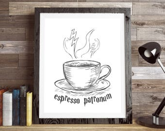 Espresso Patronum -  Harry Potter, Funny Coffee Kitchen Sign, 11x14 Home Decor Poster Sign, New Home Gift, Movie Quote,  Harry Potter Print
